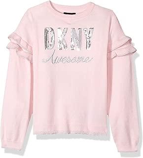 DKNY Girls' Scalloped Lurex Hem Sweater