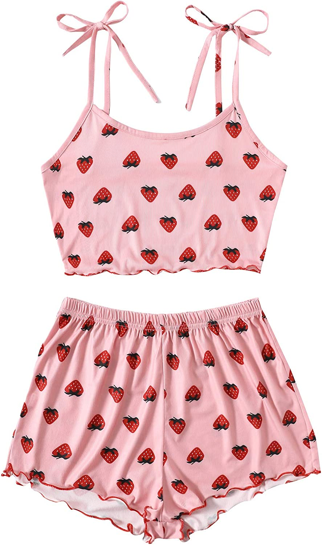 Verdusa Women's Strawberry Print Knot Strap Cami and Shorts Sleepwear Pajama Set