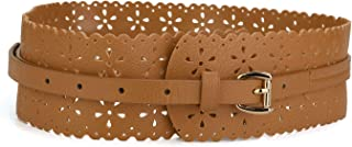 uxcell Vintage Hollow Floral Leather Cinch Waistband Wide Belts with Buckle for Women