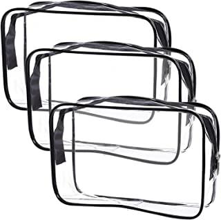 Clear Toiletry Bag Quart Size Bag Travel Makeup Cosmetic Bag PVC Toiletries Cosmetic Pouch for Women Men 3PCS (S)