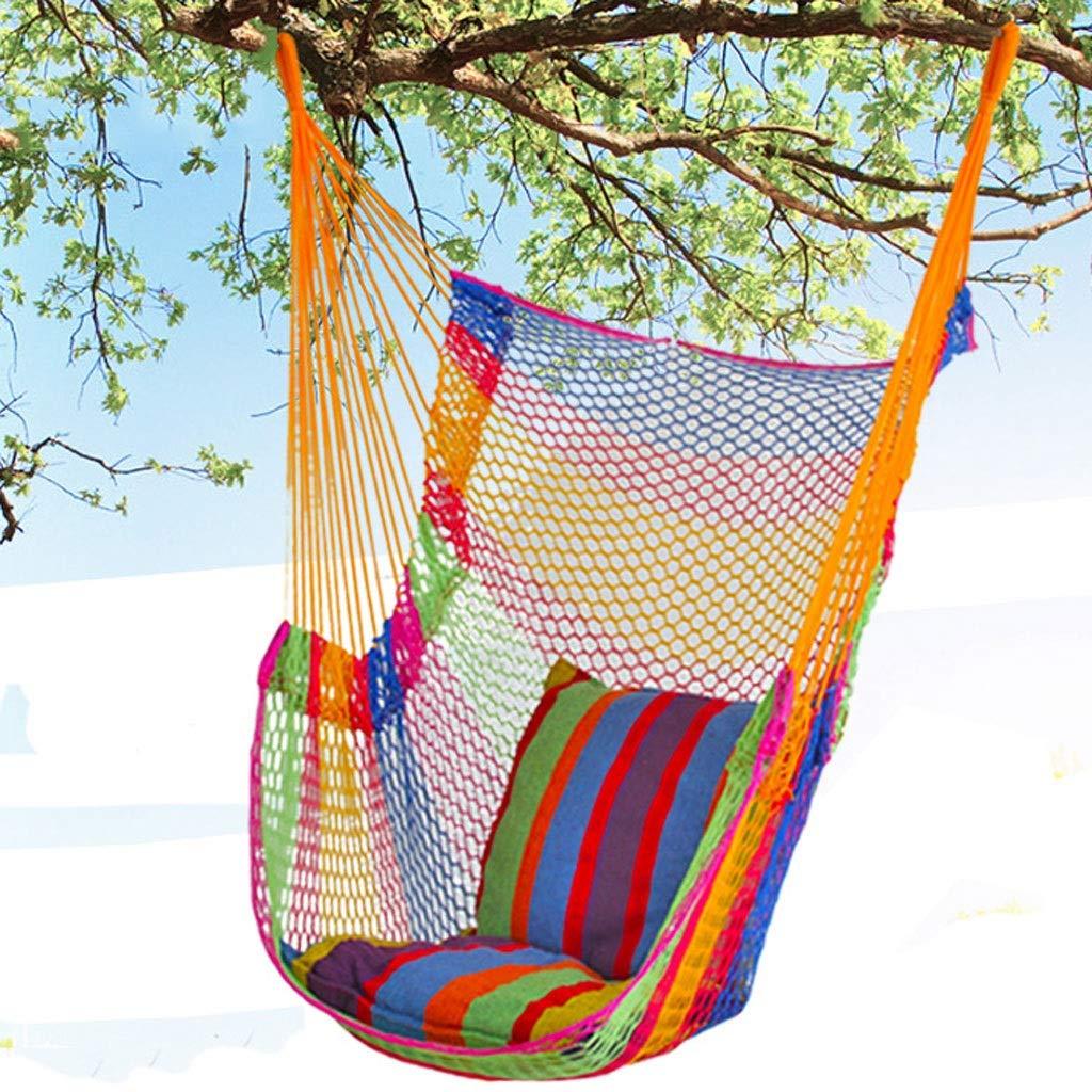 rongweiwang lit Portable Jardin Nylon Hammock Mesh Net Reste ext/érieur Filet balan/çoire Lit dext/érieur Camping Voyage Hamac Orange