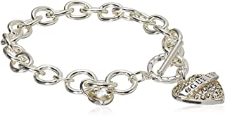 GUESS Womens Pave Heart with Logo Banner Charm Toggle Bracelet