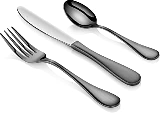 Artaste 56914 Rain 18/10 Stainless Steel Flatware 36-Piece Set, Black Finished, Service for 12