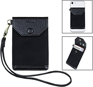 Stick on Phone Wallet, FRIFUN Ultra-Slim Self Adhesive Card Holder Credit Card Wallet for Smartphones Sleeve Extra Tall Pocket Totally Covers Credit Cards & Cash (Black Plus)