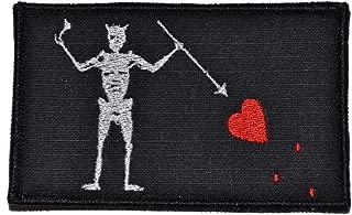 Blackbeard Edward Teach Pirate Flag 3.75x2.25 Morale Patch - Black