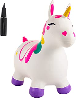 JOYIN Unicorn Bouncy Horse Kids Ride On Toy, White Inflatable Hopper Bouncy Unicorn, Hopping Animal Toy for Kids Toddlers Boys Girls Indoor Outdoor Bouncing Horse Riding Activities