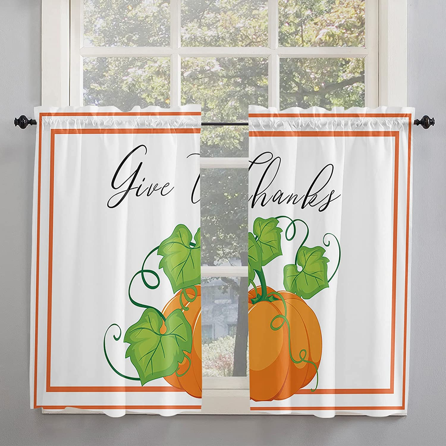 Thanksgiving Farmhouse Pumpkin Manufacturer direct Shipping included delivery Harvest Curtains Inch 54 Kitchen