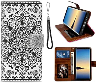 mophinda Galaxy S7 Edge (2016) [5.5inch] Wallet Case Ethnic,Ethnic Mandala Floral Lace Paisley Mehndi Design Tribal Lace Image Art Print,Black and White Good Looking