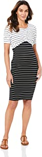 Ripe Maternity Women's Twisted Nursing Dress, Black/White