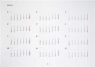 2019年 A1 ポスターカレンダー 月曜始まり 12ヶ月 シンプル&スタイリッシュデザイン