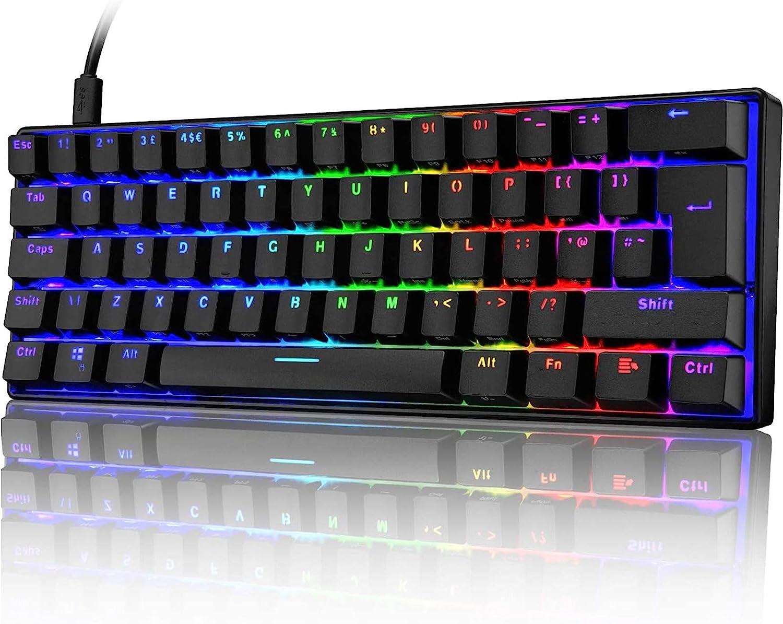 60% Mechanical Gaming Keyboard Mini Portable with Rainbow RGB Backlit Full Anti-Ghosting 61 Key Ergonomic Metal Plate Wired Type-C USB Waterproof for Typist Laptop PC Mac Gamer(Black/Brown Switch)