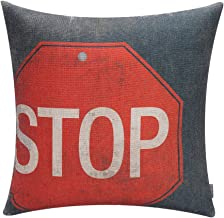 TRENDIN 18 X 18 Vintage Traffic Signal Stop Sign Cotton Linen Throw Pillow Case Cushion Cover Car Club Decorative(PL006TR)