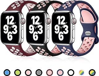 Ouwegaga Compatibel met Apple Watch Bandje 44mm 40mm 38mm 42mm, Siliconen Sport Polsband Vervangende Bandje Compatibel met...