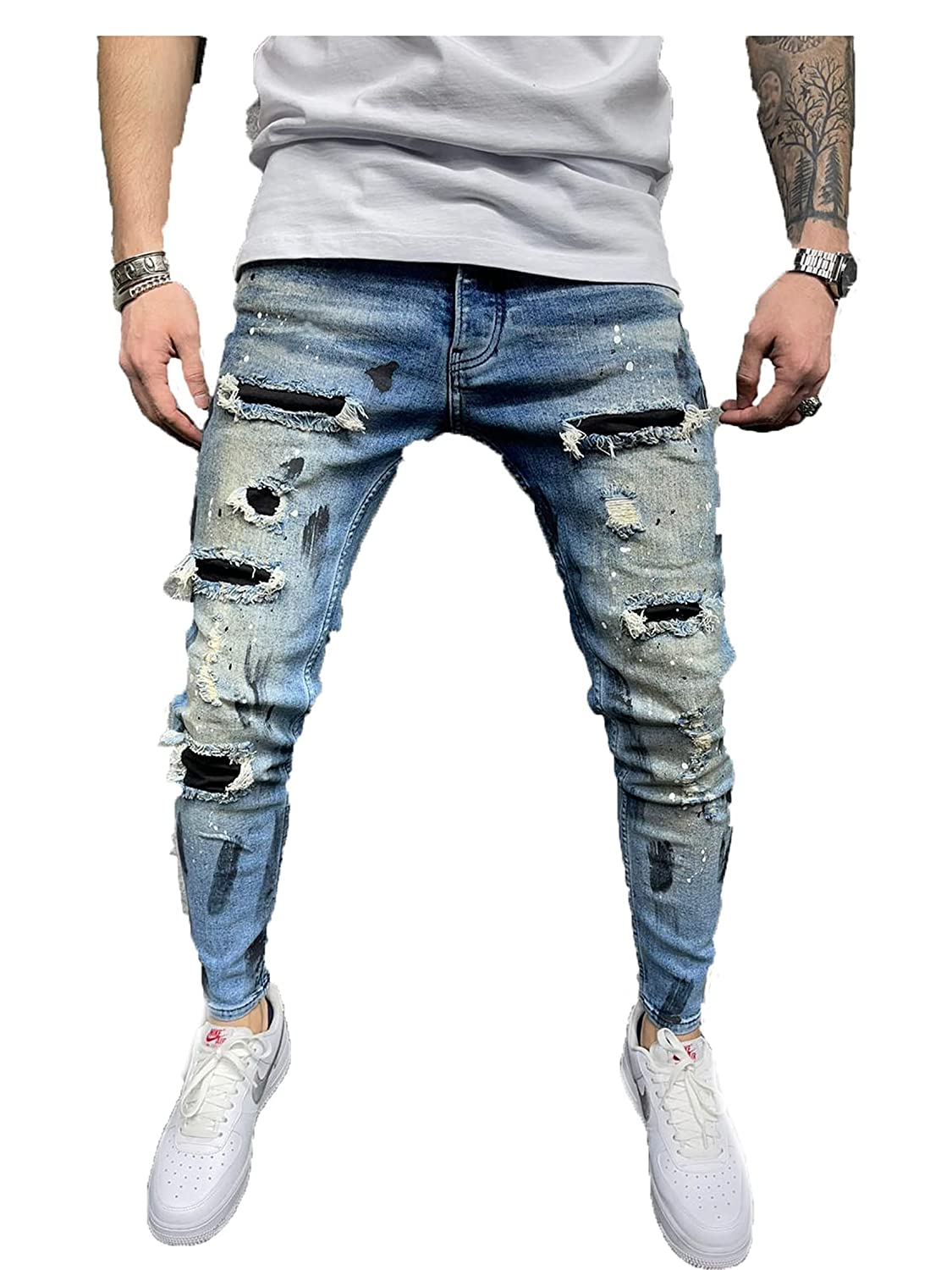 Men's Distressed Slim Denim Pants Patchwork Ripped Fit Jeans Ripped Holes Patch Skinny Jeans Tapered Leg Pants (Small 29.9W,Blue 2)