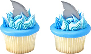 DecoPac Decorating 23386 DECOPICS-Shark FIN Cake and Cupcake Toppers for Birthdays and Parties, 3/PKG, Gray