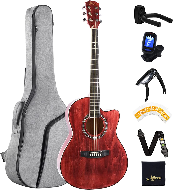 Winzz Guitarra Acústica de Viaje 39 Pulgadas, Guitarra Folk Roja Kit de Principiantes para Estudiantes o Adultos