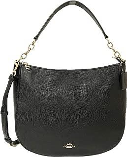 Coach Leather Elle Crossbody Hobo Purse in Black/Silver - #F31399