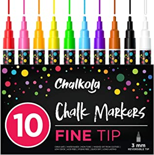 Fine Tip Chalk Markers (10 Pack 3mm) – Bold Color Erasable Dry Erase Marker Pens..