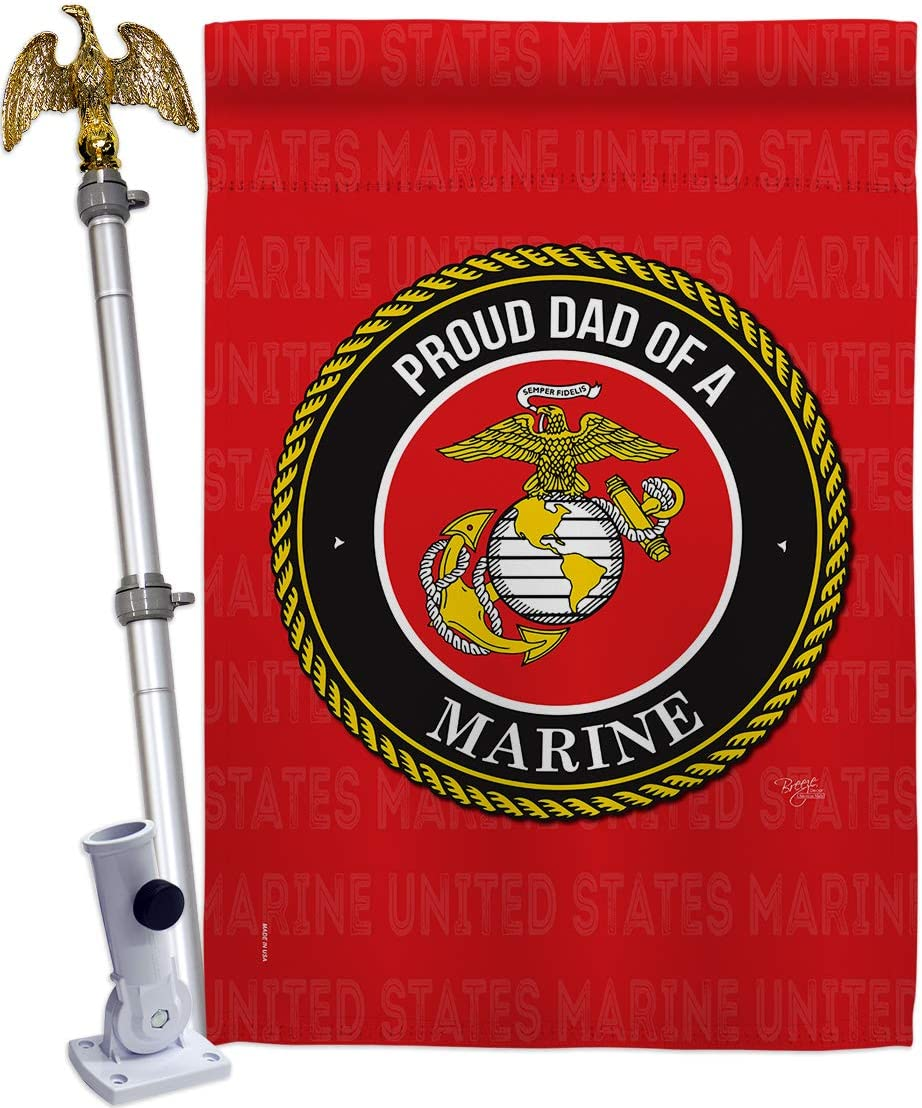 Breeze Decor Proud Dad House Flag Set Washington Mall Armed Eagle Marine Forces Max 47% OFF