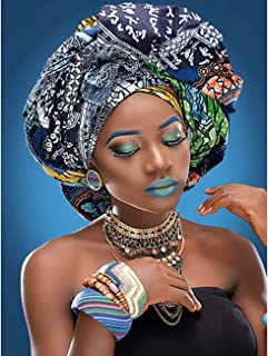 Leyzan 5D Diamond Painting Full Drill African Customs Exotic Women Paint with Diamonds Arts by Number Kits Embroidery DIY Craft Set Arts Decorations 30x40cm (12