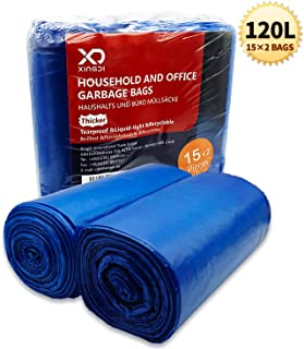 Bolsas de basura ecológicas de 120 litros, bolsas de basura de 30 ?, resistentes y resistentes para el hogar, oficina, negocios, material HDPE de 125 × 75 cm, 2 unidades (azul, 2 x 15 unidades)