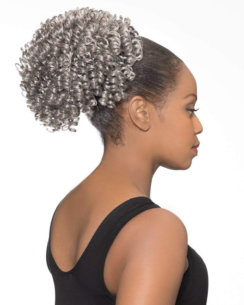 DS008 Ponytail Color 51 Light Year-end gift Jacksonville Mall Gray Foxy Spir Silver Wigs - Short