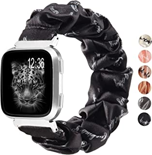 TOYOUTHS Compatible with Fitbit Versa/Versa 2 Bands Scrunchie Women Inspirational Word Pattern Versa Lite Special Edition ...