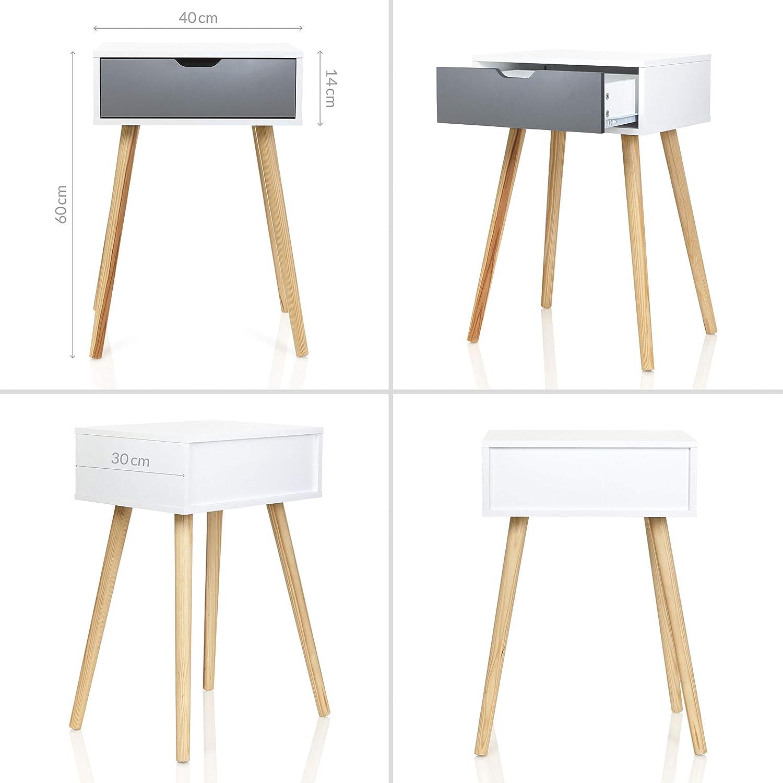 Möbelfreude Doluna Tjark Nachttisch Weiß mit Schublade in ...