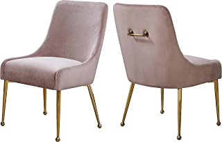 Meridian Furniture Owen Collection Modern   Contemporary Pink Velvet Upholstered Dining Chair with Polished Gold Metal Legs, Set of two, 24