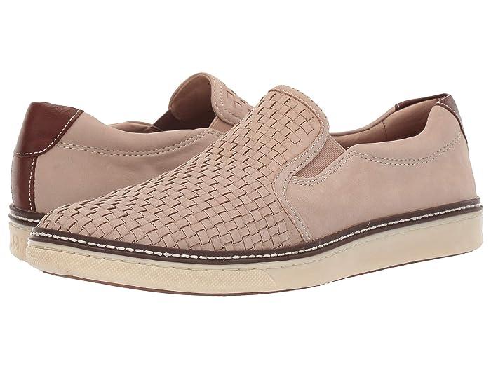 Johnston and Murphy  McGuffey Woven Casual Slip-On Sneaker (Beige Tumbled Nubuck) Mens Slip on  Shoes