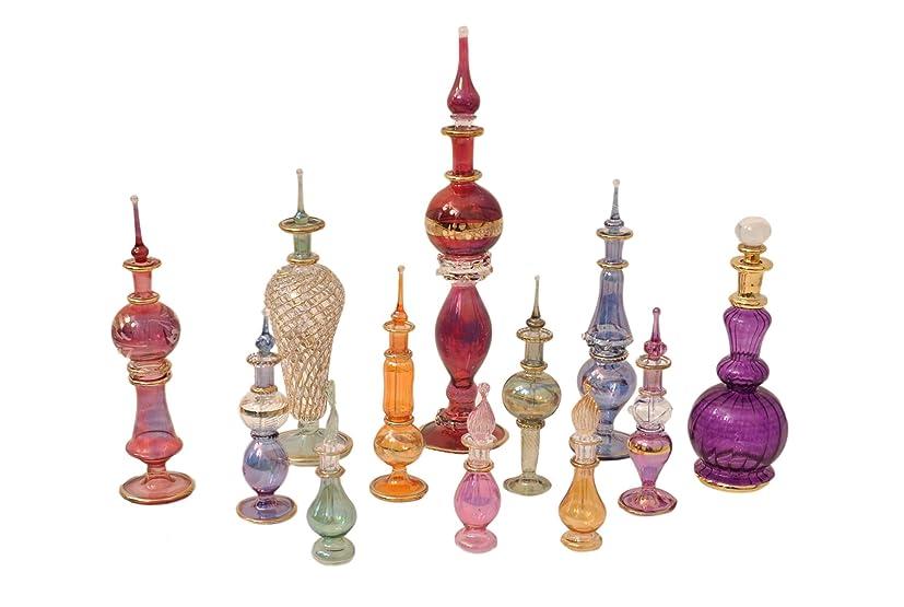 致命的なコレクション大声でGenie手吹きガラスPotion Potions DecorativeミニチュアDecorativeエジプト香水ボトルMixのセット12pc by CraftsOfEgypt