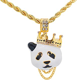 Yellow Gold-Tone Hip Hop Bling Pave Stones Panda with Crown Pendant with 24