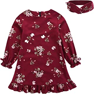 3Pcs Outfits Little Girl Pink Long Sleeve Ruffle Dress T-Shirt Floral Pants Headband/Scarf Sets