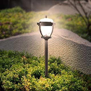 Slibrat Lawn Light 2pcs Solar LED Lawn Lamp Spike Waterproof IP65 Outdoor Garden Ground Light (Warm)