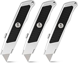 ORIENTOOLS Utility Knife Safety Box Cutter Heavy Duty,Retractable 3-Pack Set, 3 Position Locking Blade