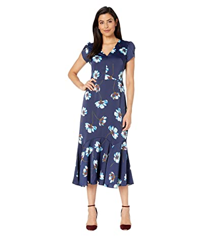 Maggy London Tossed Gerber Printed Charmeuse Fit and Flare Dress (Navy/Seafoam) Women