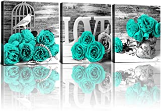 YOOOAHU Teal Rose Home Decor Mint Green Flowers Wall Art for Living Room Rural Turquoise Canvas Prints Modern Black and White Floral Pictures Framed Bathroom Decoration Set of 3 Pieces 12x12Inch