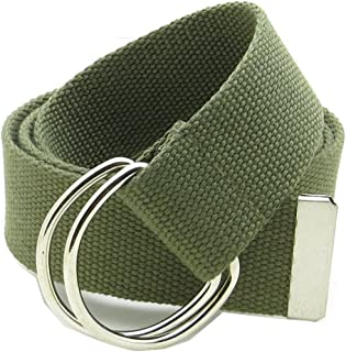 """Canvas Web Belt Double D-Ring Buckle 1.5"""" Wide with Metal Tip Solid Color"""
