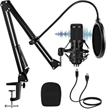 USB Condenser Microphone, Farsaw Computer PC Cardioid Mic Kit with Adjustable Stand, 192KHZ/24BIT, Plug&Play, Professional...
