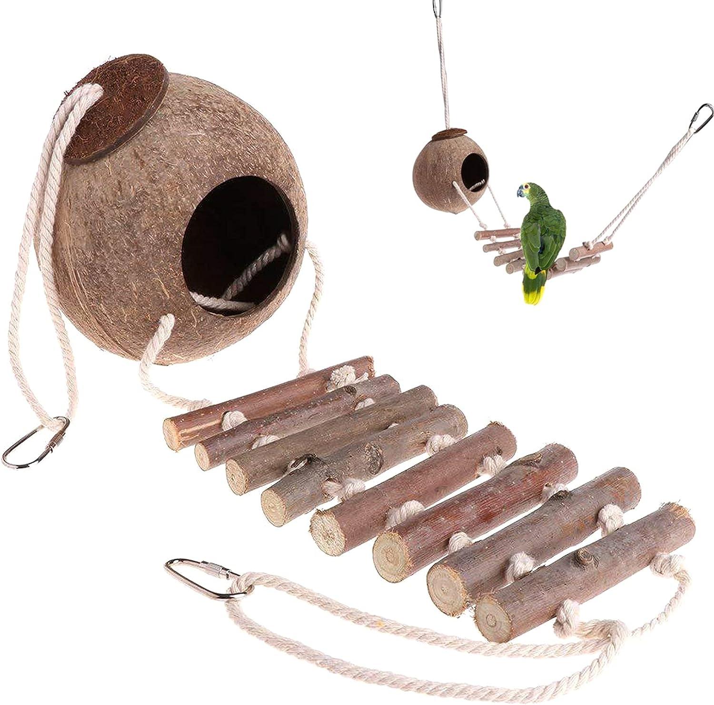 Juguetes De Jaula De Ratán Natural Juguete con Soporte De Percha De Jaula De Campanas Juguete De Nido Colgante De Pájaro con Puente Colgante De Cuerda para Periquitos Loros Adiestramiento De Mascotas