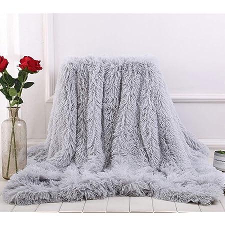 Enipte 毛布 ブランケット 冬に暖か ひざ掛け ふわふわ 掛け毛布 ソファカバー 防寒毛布 洗濯可 おしゃれ 冷房対策 (グレー, 160*200cm)