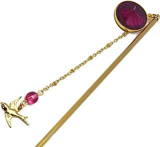 Forcina per capelli in ottone ginkgo biloba Giappone rosa fushia oro rosa resina 24K regali personalizzati Natale regalo a...