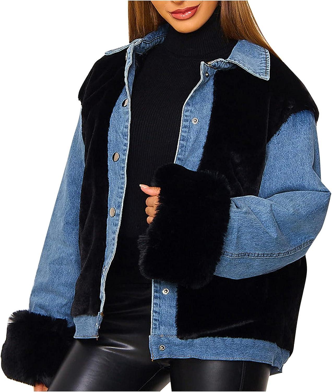 Women's Loose Single Breasted Lapel Plush Denim Stitched Warm Long Sleeved Oversized Patchwork Denim Jacket Button Coats (Blue, L)