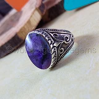 charoite ring, 925 sterling silver, designer handmade jewelry, metaphysical ring, charoite man's ring, gemstone man ring, filigree design ring, fine jewelry, beaded design jewelry, birthday gift ring
