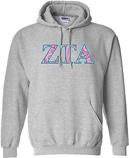 VictoryStore Zeta Tau Alpha Hooded Sweatshirt Paisley Greek Letter Design (medium, Sport Gray)