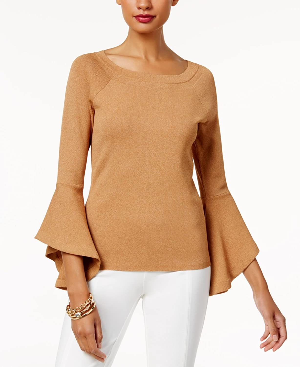 Inc Womens Ribbed Bell Sleeves Sweater Tan XL