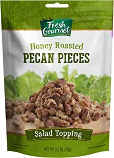 Fresh Gourmet Pecan Pieces | Honey Roasted Flavor | 3.5 Ounce | Crunchy Snack and Salad Topper