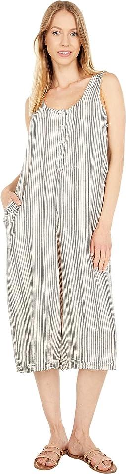 Garment Dye Stripe Gause Midi Culotte Jumpsuit