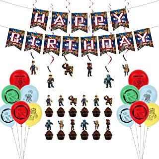 Roblox Game Theme Birthday Party Supplies, Gaming Theme Party Decorations Set include Latex Balloons, Happy Birthday Banne...