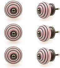 Möbelknopp möbelknopp möbelhandtag set om 6 126GN cirklar ringar rosa – jay knapp keramik porslin handmålade vintage möbel...